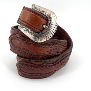 LL Bean vintage brown leather silver buckle belt